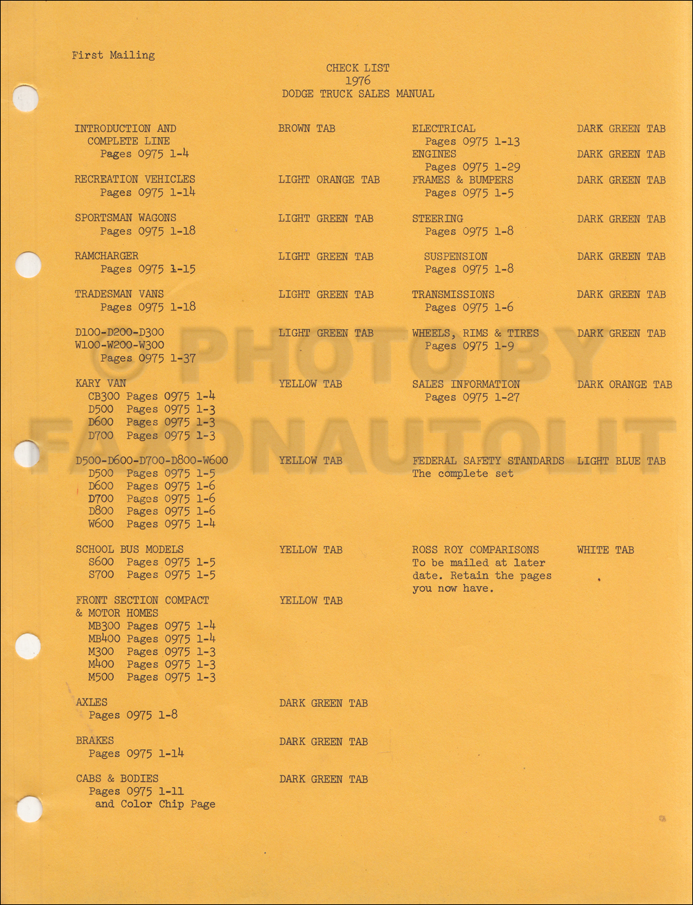 1976 Dodge Truck Data Book Sales Album Original Sportsman Motorhome Wiring Diagram Click On Thumbnail To Zoom