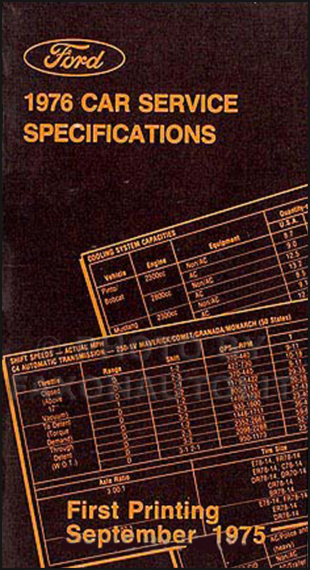 1976 Ford Car Lincoln Mercury Service Specfications Manual Original
