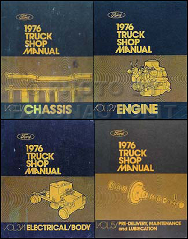 1976 Ford Truck Repair Shop Manual 5 Volume Set Pickup Van Bronco Big Truck