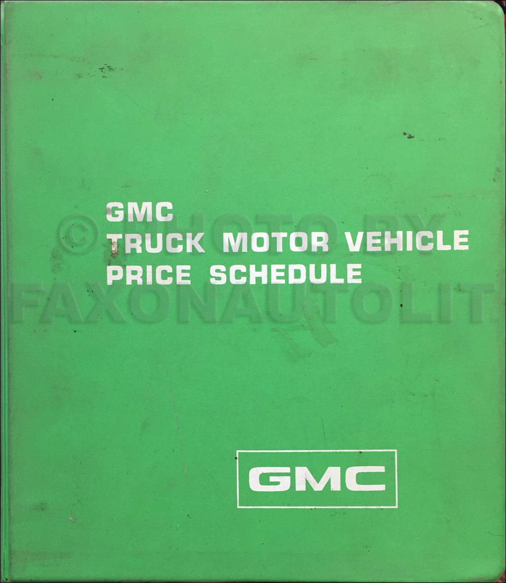 1976 GMC Truck Price Schedule Original