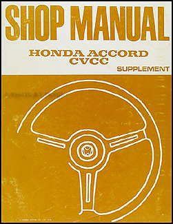 1976 Honda Accord CVCC Repair Manual Original Supplement