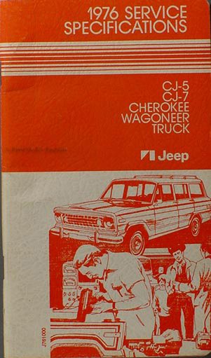 1976 Jeep Service Specifications Manual Original