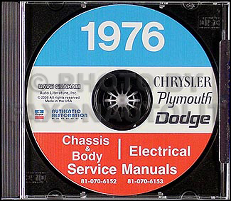 1976 Dodge, Plymouth, Chrysler Shop Manual on CD-ROM