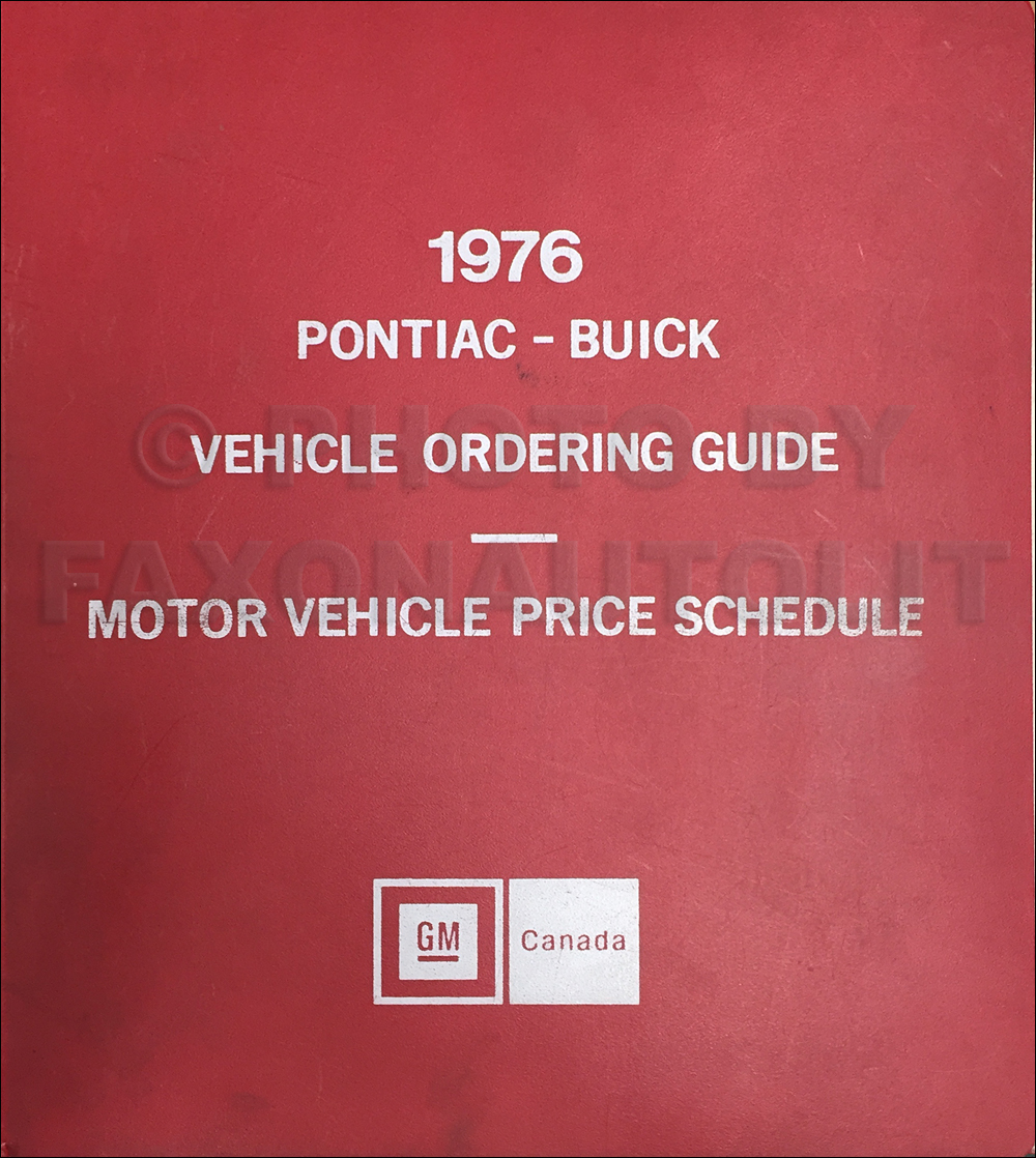 1976 Pontiac and Buick Ordering Guide Original Dealer Album Canadian