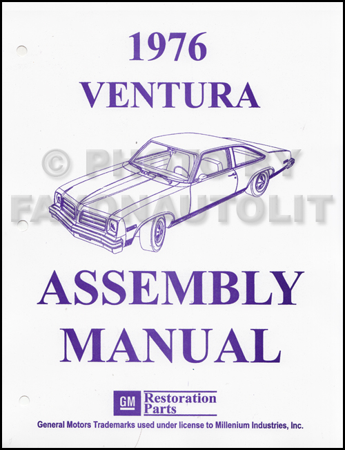 1976 Pontiac Ventura Assembly Manual Reprint