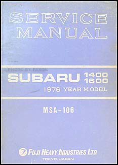 1976 Subaru 1400 & 1600 Repair Manual Original Supplement