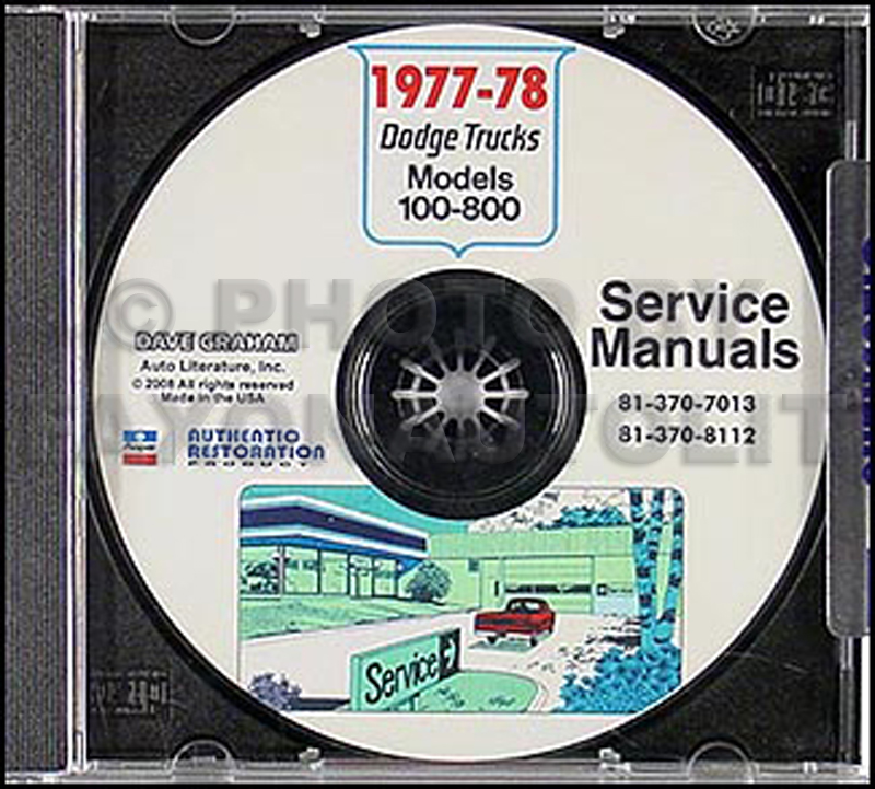 1977-1978 Dodge Pickup Truck & 4x4 Repair Manual CD-ROM