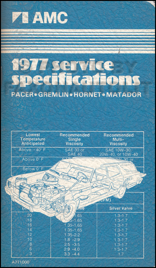 1977 AMC Service Specifications Manual