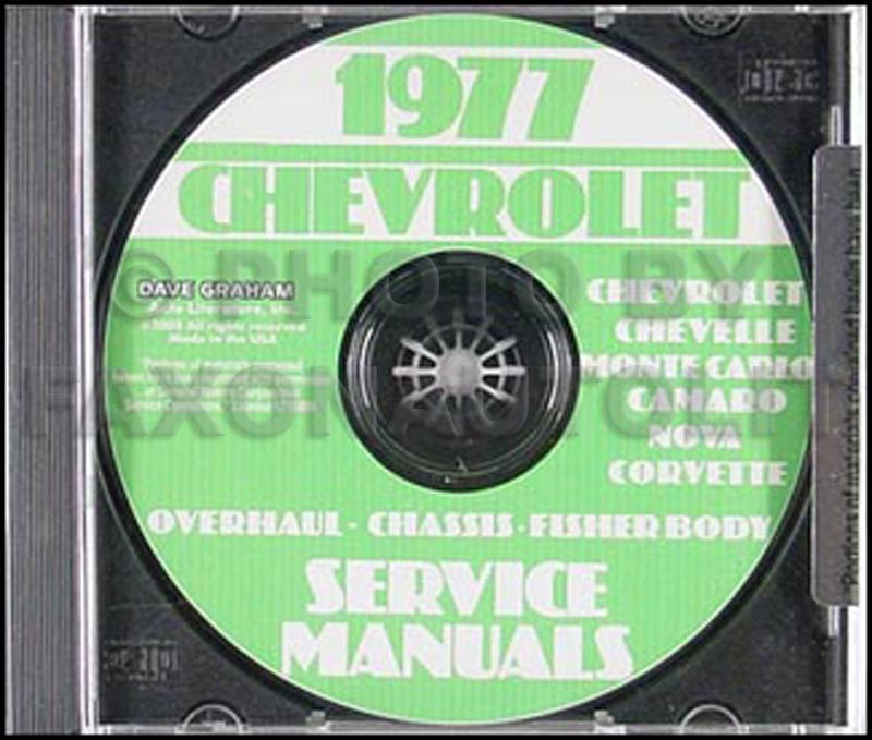 1977 Chevy Car Service, Overhaul, & Body Manuals on CD-ROM