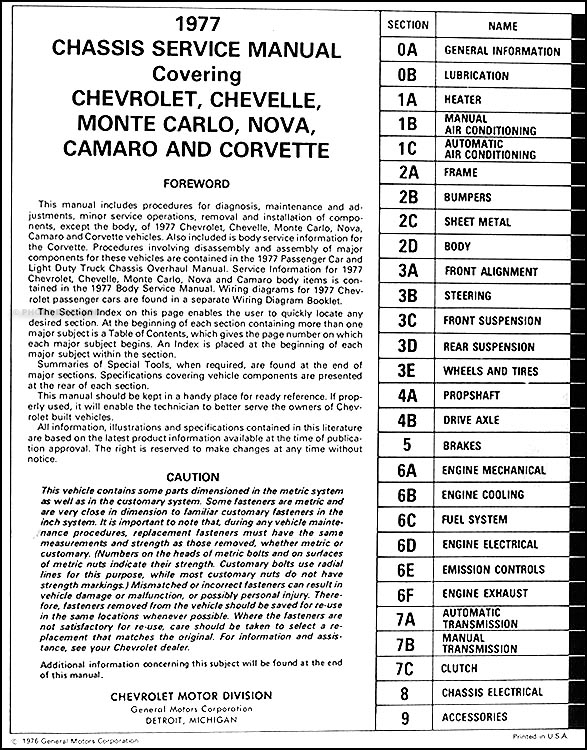 1977 chevy car repair shop manual original camaro chevelle monte rh faxonautoliterature com 1989 Monte Carlo 1988 Monte Carlo