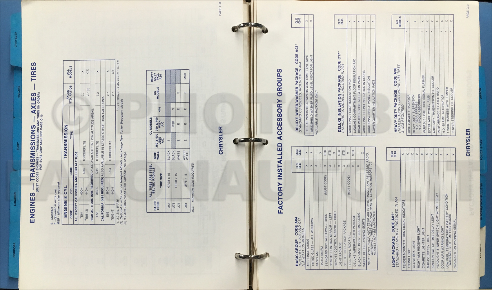1978 Chrysler Plymouth Ordering Code Guide Original