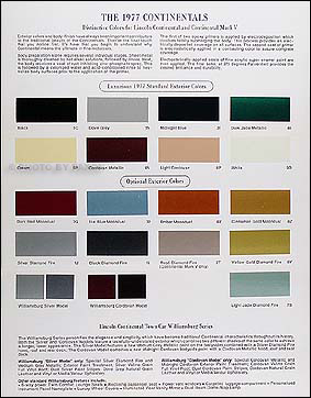 2003 lincoln continental paint colors