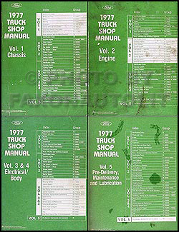 1977 Ford Truck Repair Shop Manual 5 Volume Set Pickup Van Bronco Big Truck
