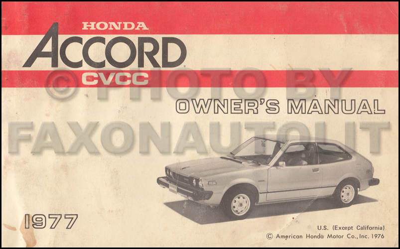 1977 Honda Accord CVCC Owner's Manual Original (CA and High Altitude)
