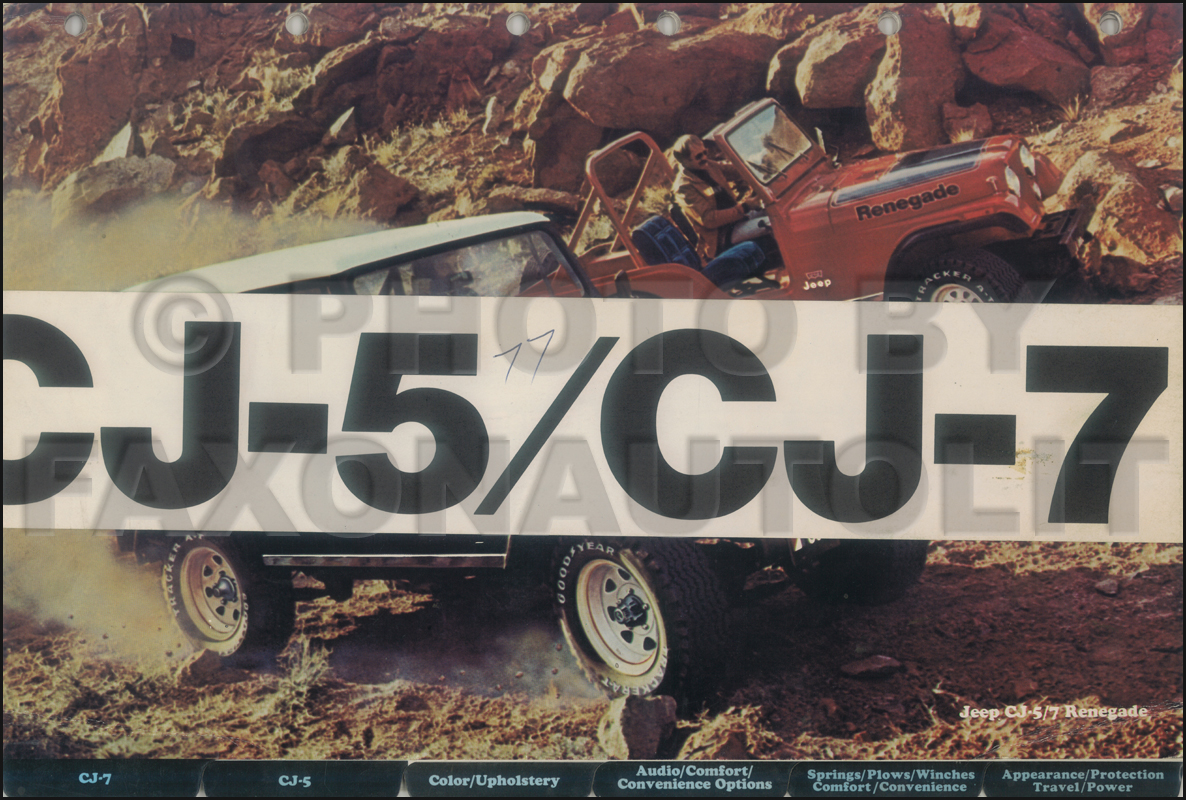 1977 Jeep CJ Color and Upholstery Album Original