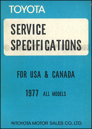 1977-1977.5 Toyota Service Specs Manual Original