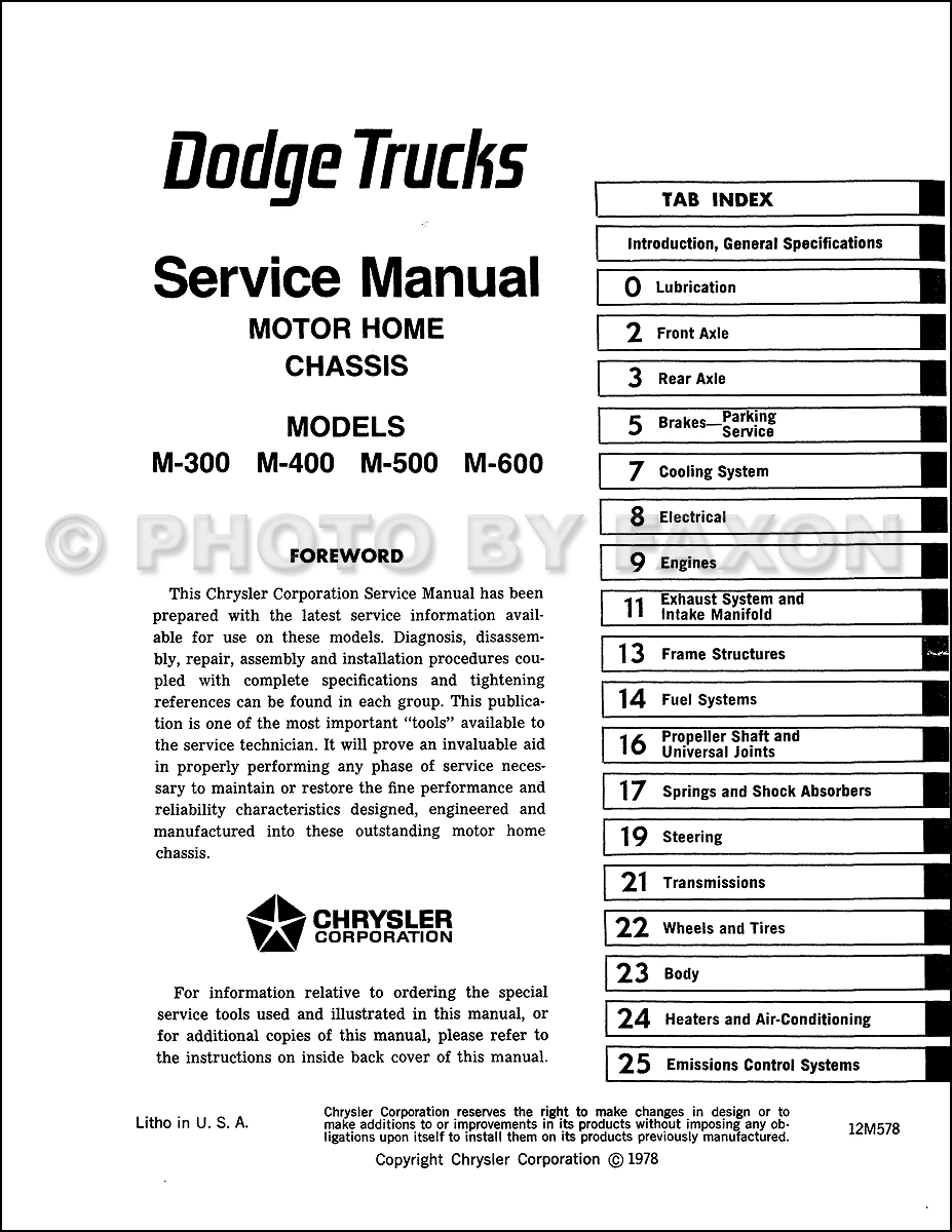 1977 dodge sportsman motorhome wiring diagram 1978-1982 dodge motor home chassis repair shop manual ...