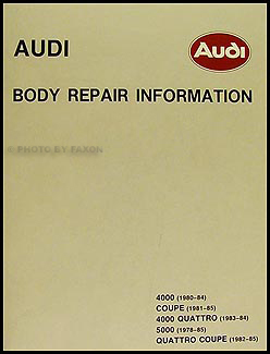 1978-1985 Audi Body Repair Manual 4000 5000 Quattro and Coupe