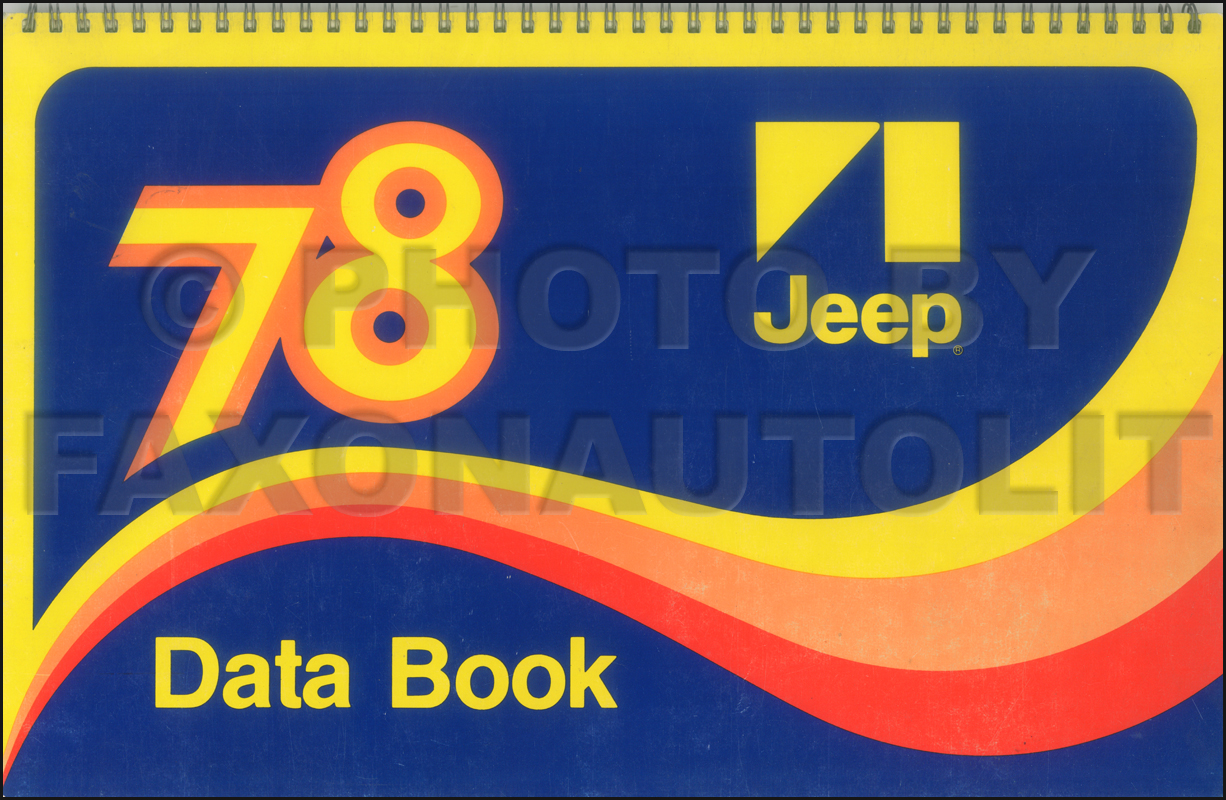 1978 Jeep Data Book Original CJ Cherokee Wagoneer Pickup