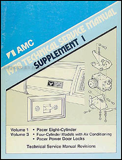 1978 AMC Pacer Shop Manual Original Supplement 1