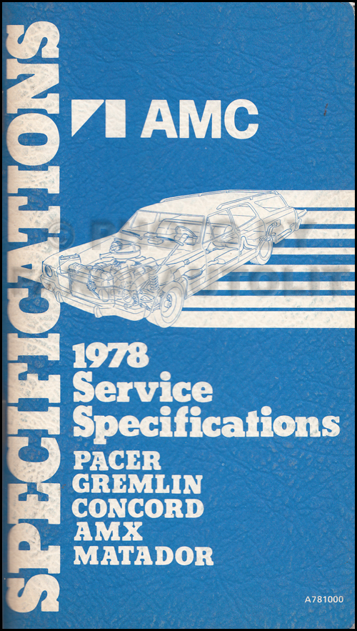 1978 AMC Service Specifications Manual
