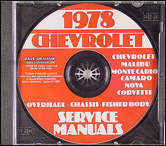 1978 Chevy Car Service, Overhaul, & Body Manuals on CD-ROM