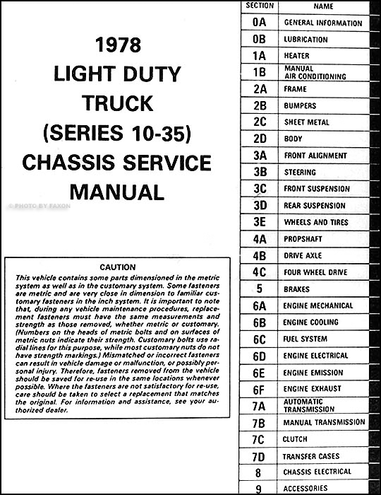1978 Chevrolet Pickup Blazer Van Suburban Repair Shop Manual. Table Of Contents. Chevrolet. 1978 Chevy Scottsdale Wiring Diagram At Scoala.co