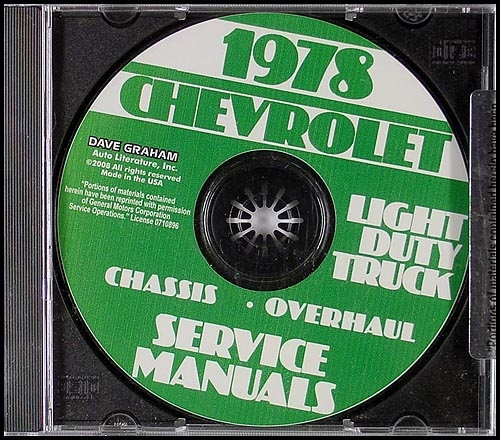 1978 Chevrolet Truck Service and Overhaul Manuals on CD