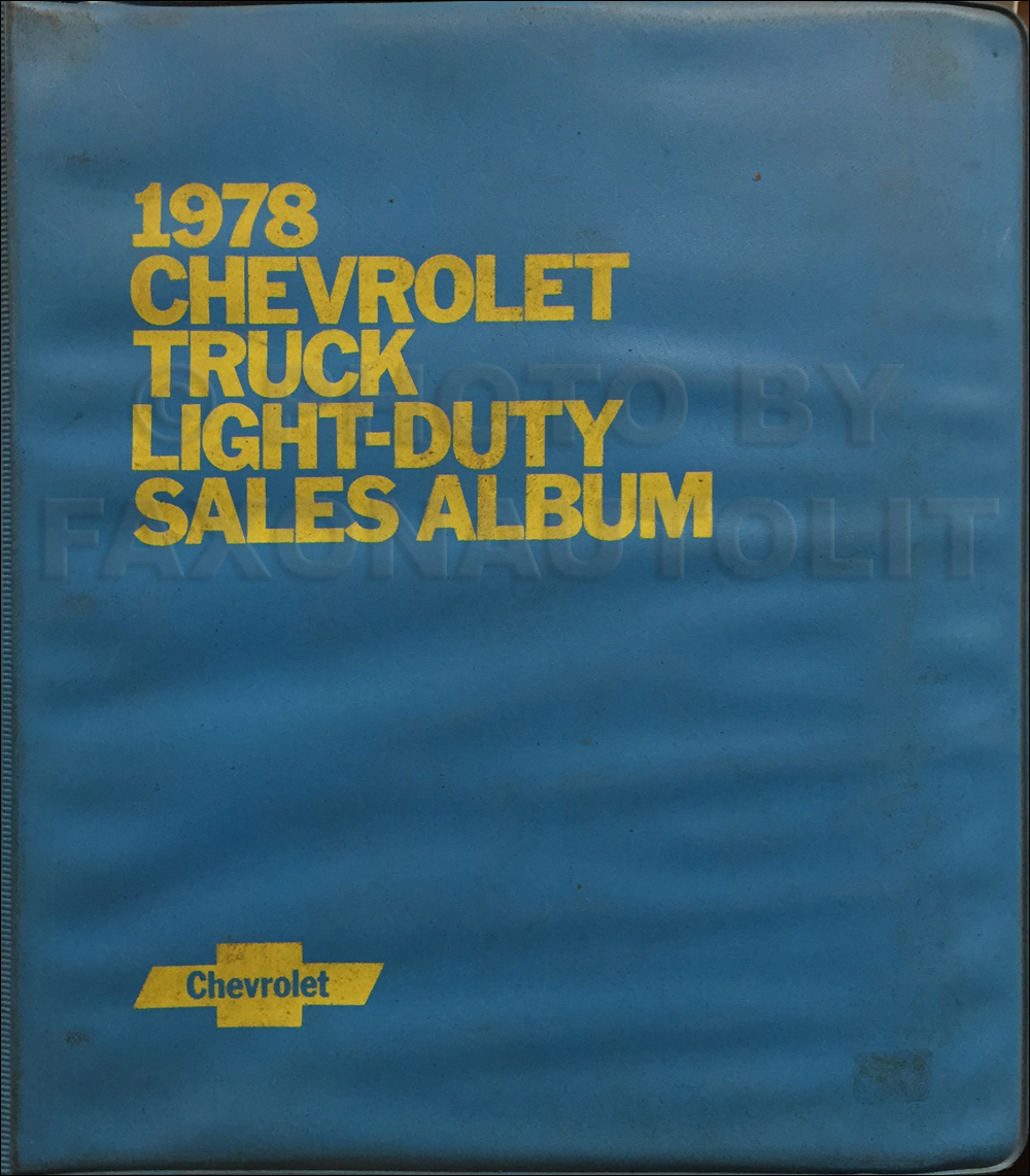 1978 Chevrolet Light Truck Data Book and Color and Upholstery Dealer Album Original