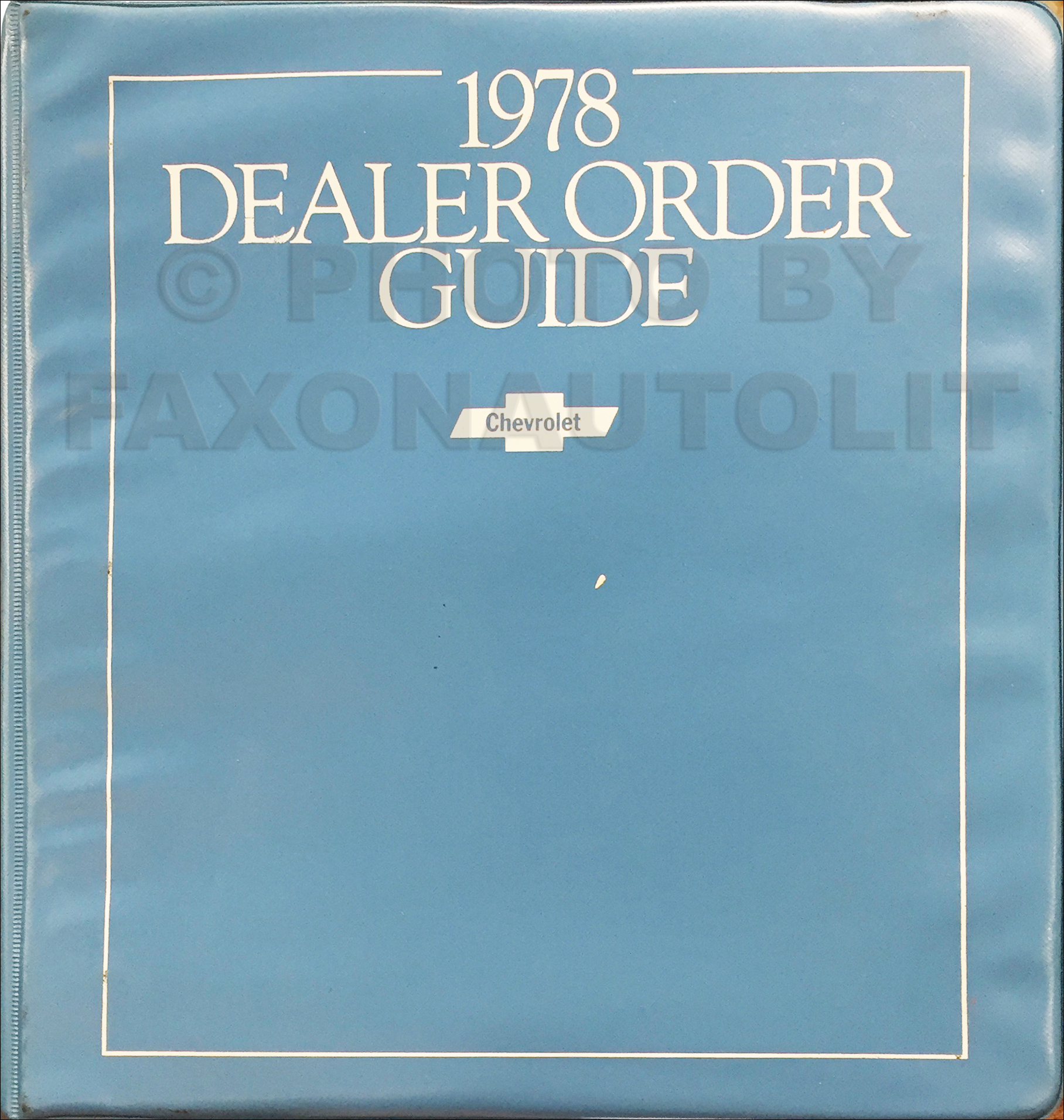 1978 Chevrolet Dealer Order Guide Original Dealer Album