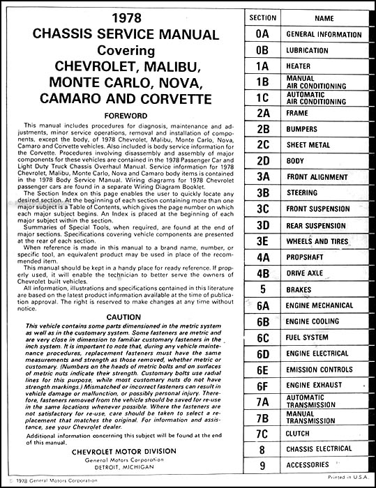 1978ChevyCarORM TOC 1978 chevy repair shop manual original camaro chevelle el camino