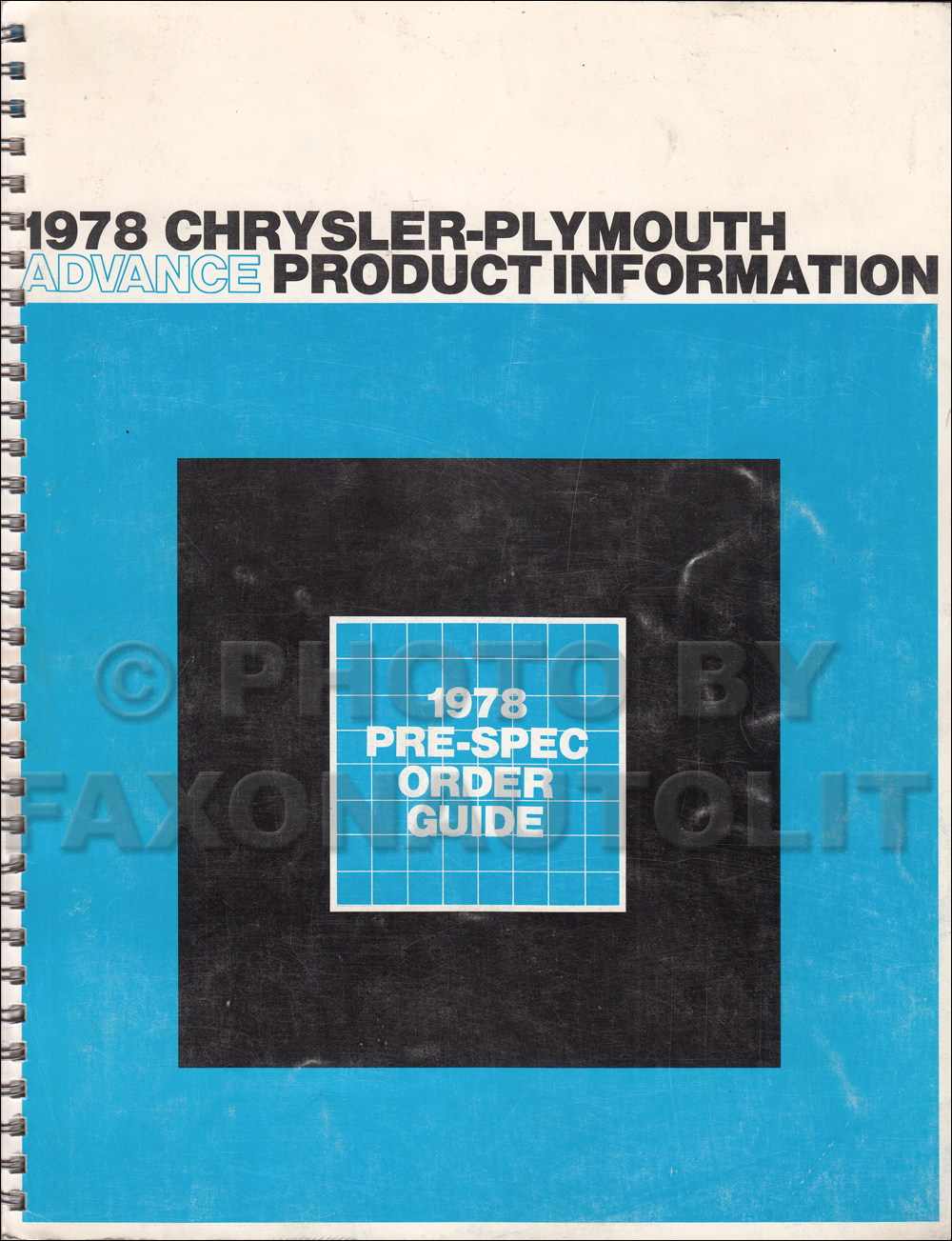 1978 Chrysler Plymouth Advance Color and Upholstery Dealer Album Original Data Book