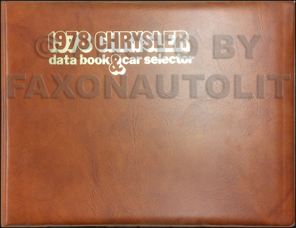 1978 Chrysler Data Book Original