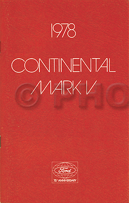 1978 Lincoln Mark V Continental Original Owner's Manual