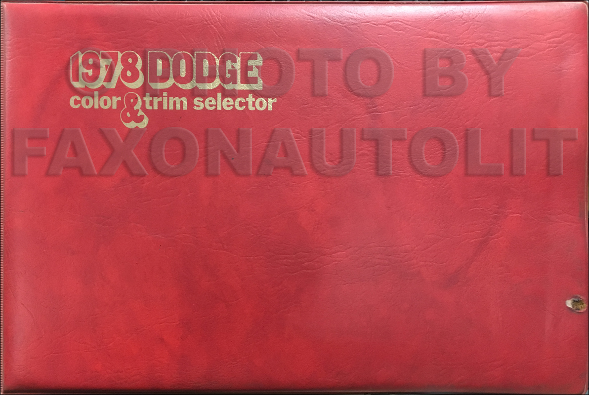 1978 Dodge Color & Upholstery Album Original