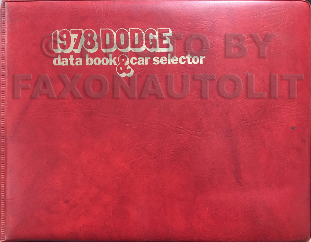 1978 Dodge Data Book Original