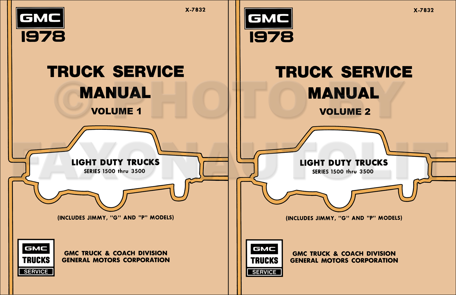 1978 GMC 1500-3500 Truck Repair Shop Manual Reprint Set Pickup, Jimmy, Suburban, Van, FC