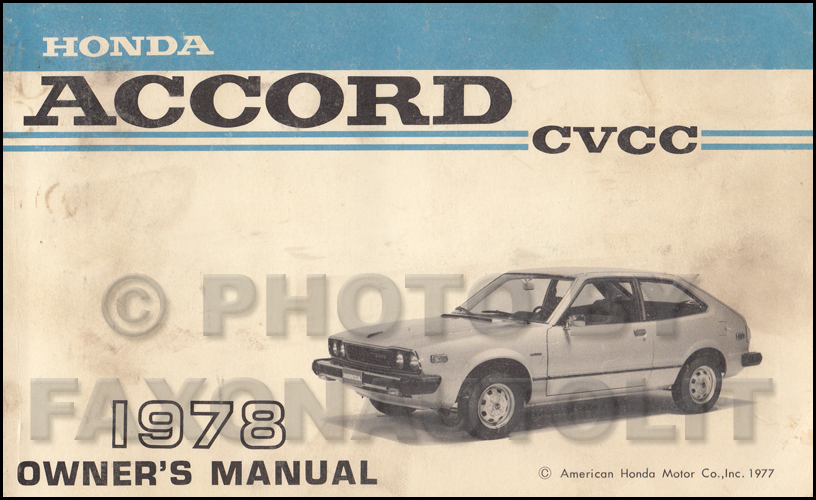 1978 Honda Accord CVCC Owner's Manual Original