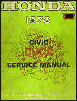 1978 Honda Civic CVCC Repair Manual Original