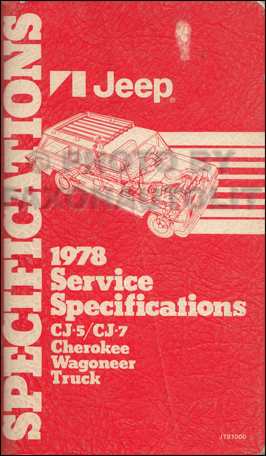 1978 Jeep Service Specifications Manual Original