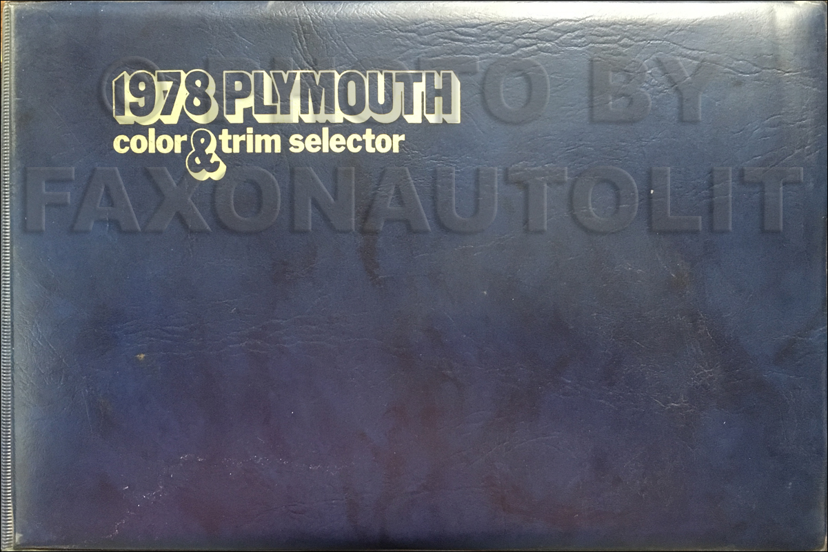 1978 Plymouth Color & Upholstery Album Original