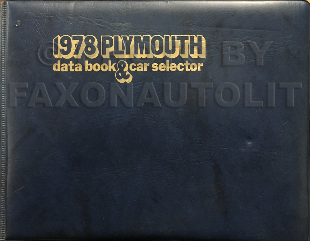 1978 Plymouth Data Book Original