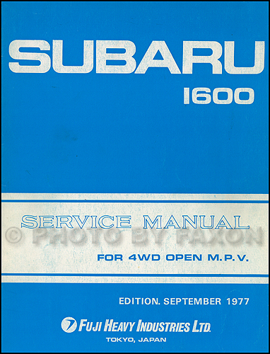 1978 Subaru Brat Repair Shop Manual Original Supplement