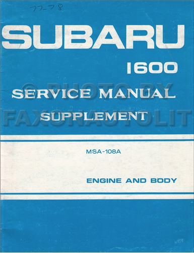 1977-1978 Subaru 1600 Repair Shop Manual Original Supplement