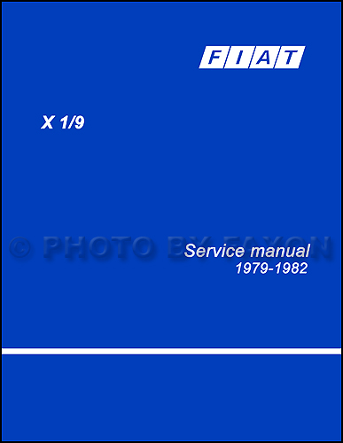 1979-1982 Fiat X19 X/19 Shop Manual Reprint