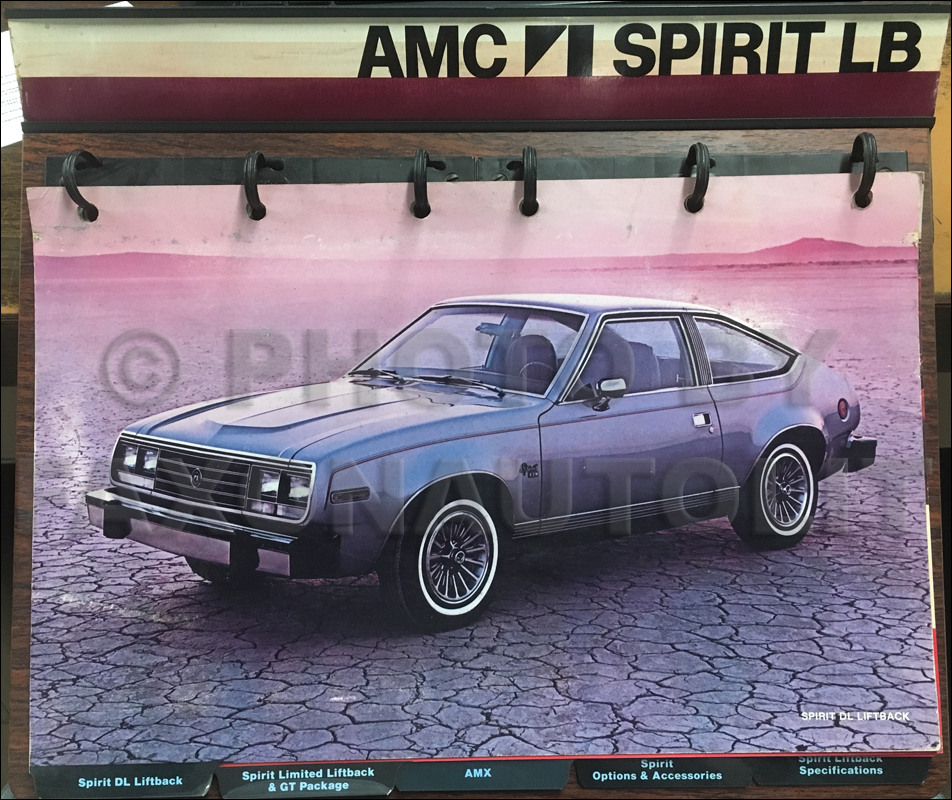 1979 AMC Spirit ONLY Color and Upholstery Album Original on a Stand