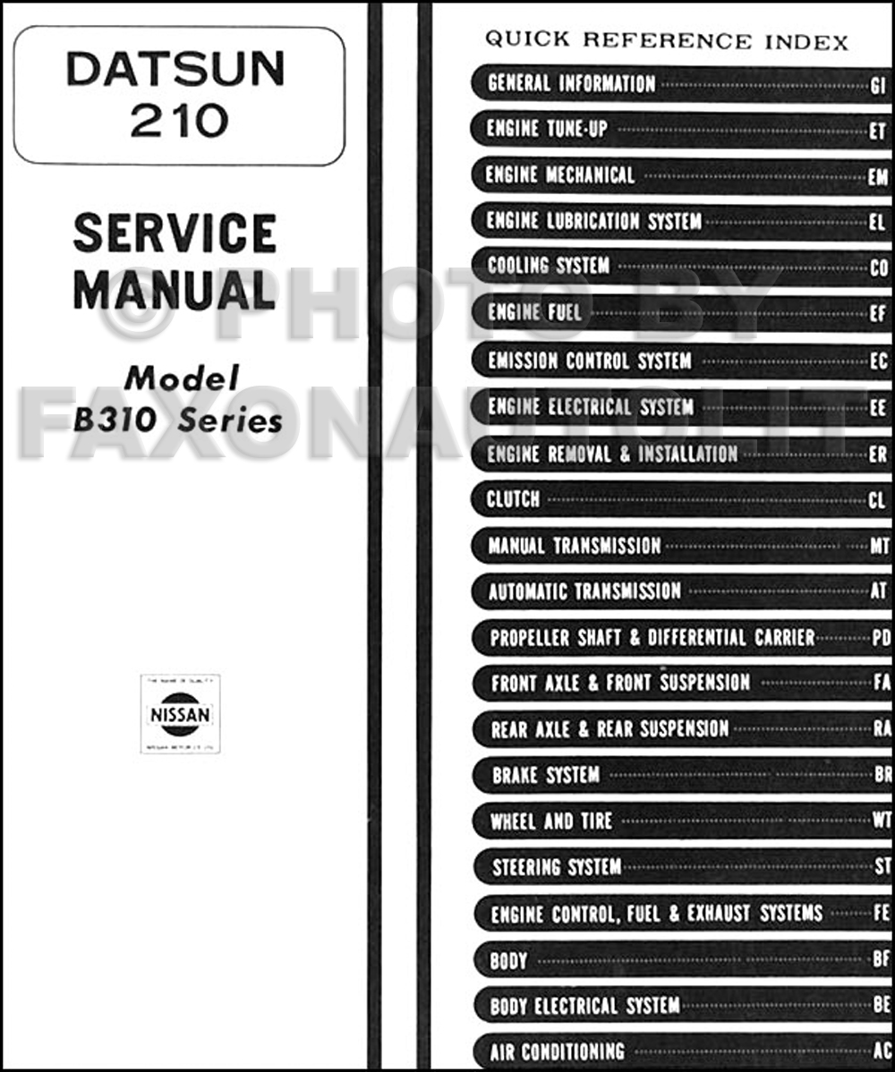1979 Datsun 210 Repair Manual Original · Table of Contents