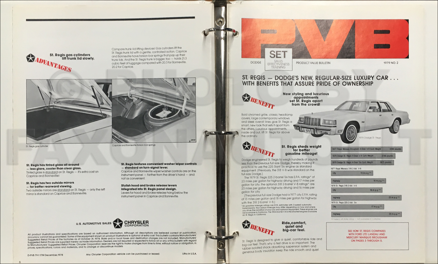 1979 Dodge Sales Bulletins Original