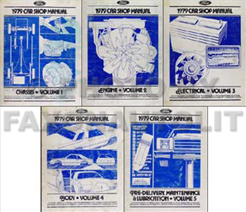 1979 Ford/Lincoln/Mercury Car Repair Manual 5 Volume Set Original