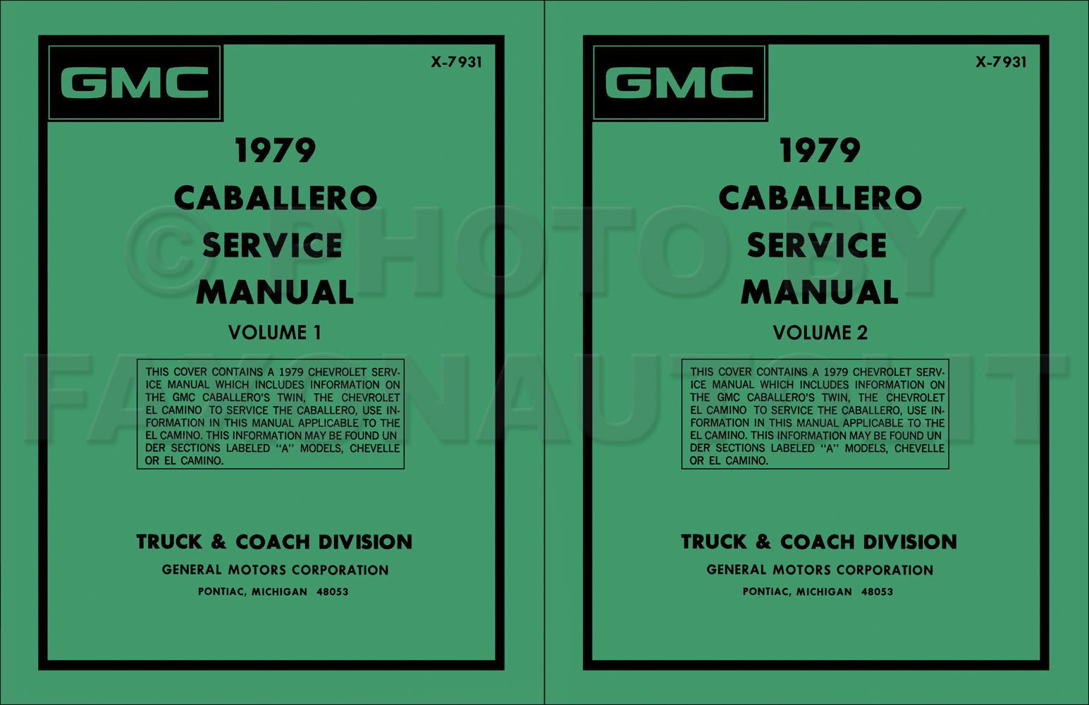 1979 Chevy El Camino Gmc Caballero Wiring Diagram Original 4500 Electrical Repair Shop Manual Set Reprint